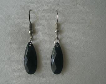 Vintage Faceted Black Onyx Drop Earrings