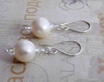 White Pearl Earrings Sterling Silver Gold Filled Earrings Crystal Earrings Wedding Bride Bridesmaid Engagement Rustic Large Pearl Earrings