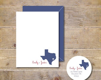 State, Wedding, Wedding Thank You Cards, States, Bridal Shower, Thank You Cards, State Note Cards, State Silhouettes, Hearts - Where We Met
