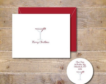 Christmas Cards, Candy Cane, Martini, Holiday Cards, Peppermint Martini, Christmas Card Set, Holiday Card Set