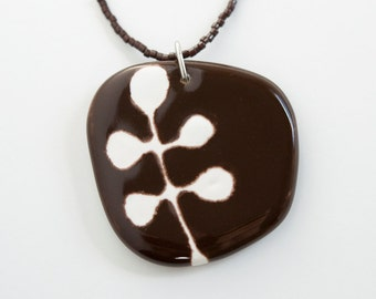ceramic pendant - abstract berries in chocolate brown