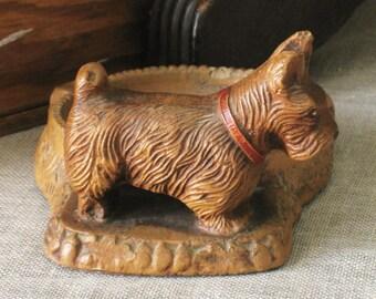 Terrier , Antique , Scottie , Composite Ashtray , Dog , Animal , Scottish Terrier , Small Dog , Dresser Tray , Canine , Lap Dog