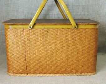 Picnic Basket , Wicker and Metal , Basket , Large Basket , Large Picnic Basket , Storage Basket , Craft Basket , Storage , Craft Storage