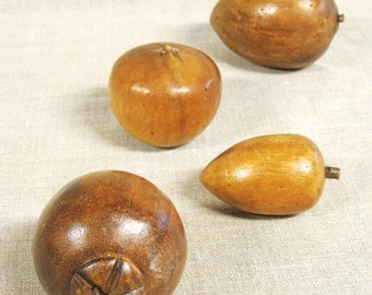 Vintage Carved Wooden Fruit, Handmade, Group of 4, Collection, Decorative, Rustic Decor, Kitchen, Farmhouse Chic, Mid-Century, Bowl Filler