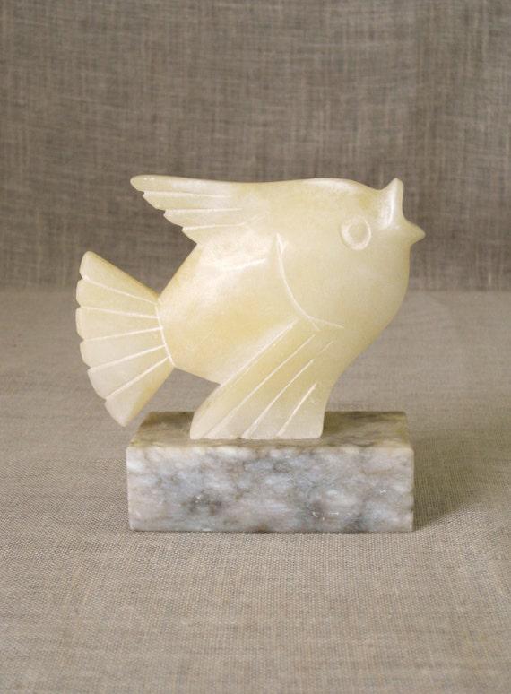 Marble Blocks For Sculpting : Vintage stone fish carving alabaster carved angel