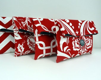 Red and Gray Bridesmaid Clutches Bridesmaid Gift Set of 4 Red Clutches