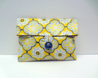 Gray and Yellow Print Cosmetic Bag - READY TO SHIP
