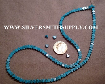 120+ Treated Blue Turquoise Heart shaped beads 16 in strand 4mmx 4mm BS038
