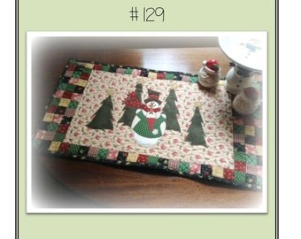 Snow In Love Snowman Tablerunner Packaged Pattern from Quilt Doodle Designs