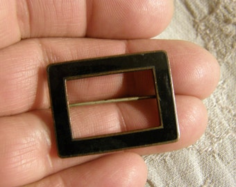 Vintage copper and black enamel rectangle brooch circa the 1940's