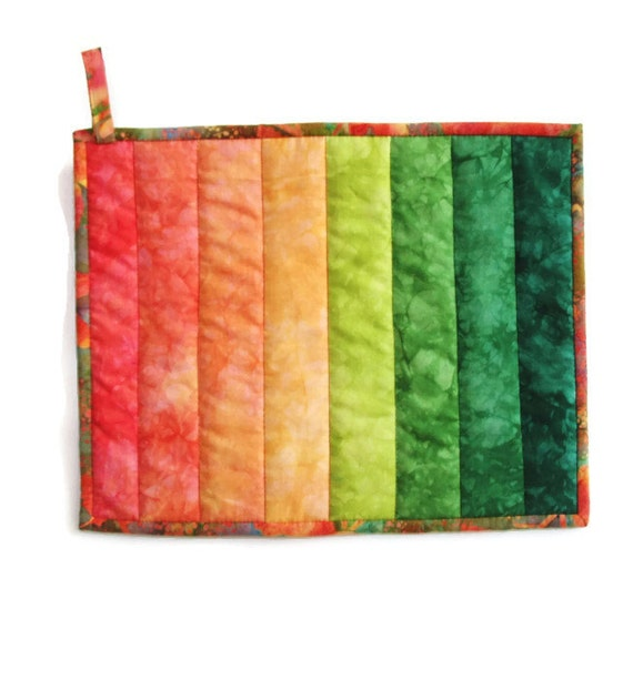 Ombre Potholder  Autumn Harvest Extra Large in Colorwash of Hand Dyed Shades of Orange Rust and Greens