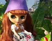 Purple felt Gnome Cap Hat helmet for Blythe