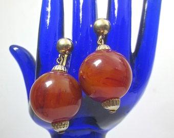 Vintage 1950's Marbled Amber Bakelite Earrings-Screw Back Antique Dangling Bakelite Earrings