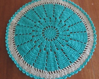 Handmade Small Round Crocheted Rug measures 30""