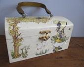 Vintage Decoupage Wooden Box Purse Prairie Holly Hobbie Lucite Handle Hand-Made 1960's