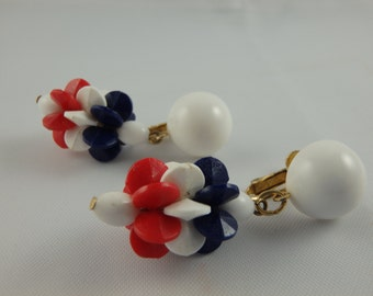 Vintage Mod Napier Red White and Blue Earrings, Patriotic, Plastic, Lightweight, 4th of July