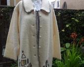 Vintage White Felted Lambwool Coat Rustic Embellished size Medium/Large