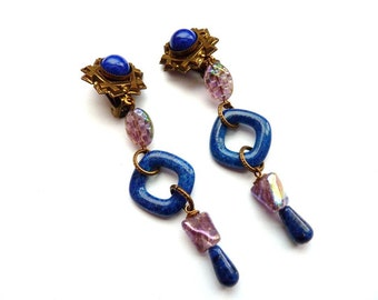 Vintage  Lapis Bead  Earrings  3 1/2 Inch Dangling Blue Bead Earrings