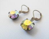 Gorgeous Estate Style Dangle Earrings with Vintage Glass Aurora Borealis Rhinestones