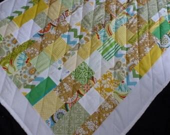 """Baby Quilt or Comforter - 35.5"""" x 46"""" - Scrap Blanket"""