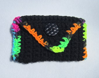 Crocheted Purse Pouch in Black with Bright Green, Orange, Yellow, Pink and Blue Business Card Holder Tissue Holder