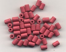 Ceramic Beads 6X10 mm, hole about 2.5 mm Package of 50 beads #38 Bubble Gum Pink
