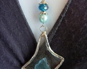 Sea Glass Jewelry-Pendant-Blue and Clear Sea Glass-OOAK-Repurposed Jewelry