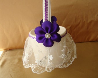 Ivory Flower Girl Basket with Purple Deco