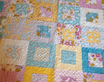 Quilt Baby Crib girl  in Promenade Fabrics -- yellow, pink, cream, blue, purple, lilac, orchid