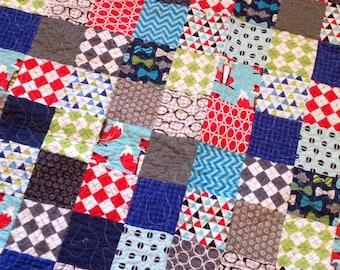 Fox Baby Crib quilt -- aqua, red, blue, grey, green, houndstooth, argyle, patchwork