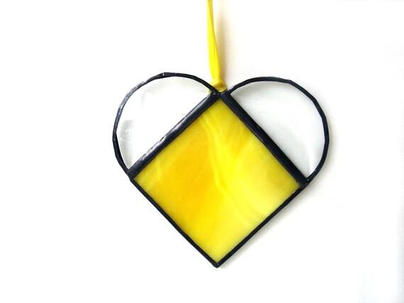 Small heartsuncatcher, stained glass suncatcher, bright yellow heart,  stained glass heart, window art, heart ornament, bridal shower favor