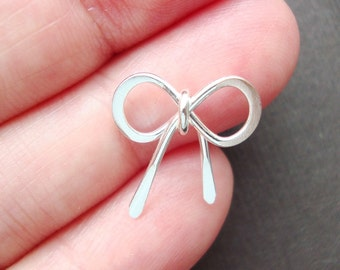 Handmade 925 Sterling silver Bow Coonector Link- Pendant Charm- Hand Tie Knot Bow- 14x14mm-2 pcs - PC-0012