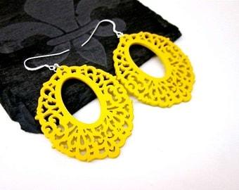 Yellow Hoop Earrings -- Large Yellow Earrings -- Fun Yellow Earrings -- Yellow Wood Dangle Earrings -- Yellow Laser Earrings -- Filigree