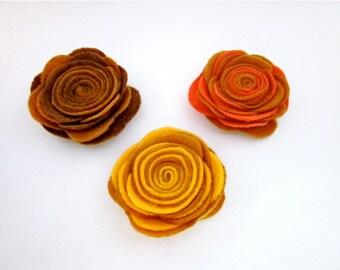 Brown Flower Pin -- Felt Flower Pin -- Felt Pin -- Large Felt Flower -- 3 color options