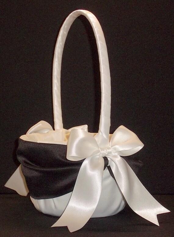 Flower Girl Baskets Black : Black accent wedding flower girl basket white by