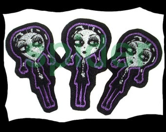 Gothie as Wednesday Addams Iron on Patch Patches Addams Family Embroidered Embroidery