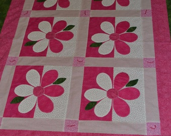 Pink Shadow Flower Quilt