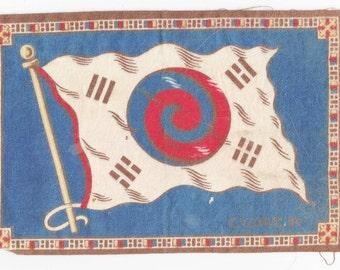 REDUCED , Antique Flags, Tobacco  Felts, Miniature