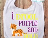 I Drool Purple and Gold BIB - Tigers - Football - Baseball - College Football