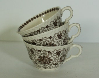vintage mason's brown transfer ware coffee cups bow bells pattern set of three