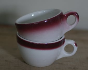 vintage buffalo china diner cups cranberry and white set of two