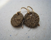 Unpolished Textured Bronze Disk Earrings