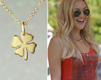 Gold Four Leaf Clover Necklace, Matte Gold Charm, Lucky Charm, Free US Shipping