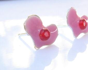 Pink Heart Post Earrings.Girls Earrings.girl studs.girl earrings.under 30.silver post earrings.pink earrings.heart jewelry.valentines day.