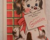 Vintage Greeting Card Happy Birthday Grandson Dog Unused New old stock NOS