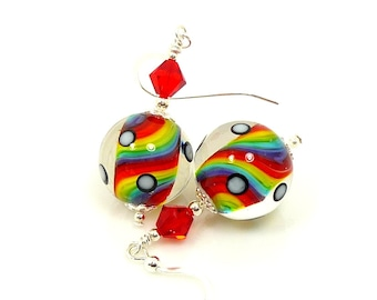 Rainbow Earrings, Colorful Glass Earrings, Lampwork Earrings, Rainbow Jewelry, Glass Bead Earrings, Beadwork Earrings, Retro Jewelry