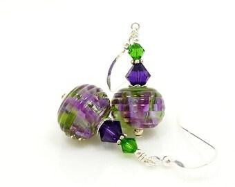 Purple Green Earrings, Purple Earrings, Lampwork Earrings, Modern Glass Art Jewelry, Glass Earrings, Beadwork Earrings, Unique Earrings