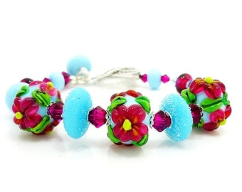Pink Blue Floral Bracelet,  Lampwork Bracelet, Glass Bracelet, Beaded Bracelet, Beadwork Bracelet, Hollow Glass Lampwork Bracelet