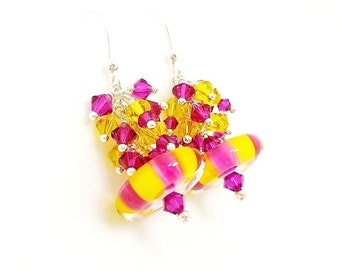Pink & Yellow Earrings, Fun Earrings, Cluster Earrings, Lampwork Earrings, Glass Earrings, Beadwork Earrings, Dangle Earrings, Unique Trendy