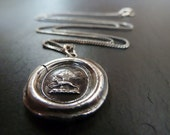 Greyhound. Whippet Wax Seal Necklace. Fine Silver Jewelry. Wax Seal Pendant